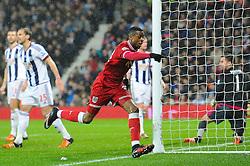 Jonathan Kodjia of Bristol City celebrates his goal which makes it 1-1 - Mandatory byline: Dougie Allward/JMP - 09/01/2016 - FOOTBALL - The Hawthorns - Birmingham, England - West Brom v Bristol City - FA Cup Third Round