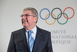 LAUSANNE, Jan. 20, 2018  International Olympic Committee (IOC) President Thomas Bach smiles prior to the meeting with the Olympic Committee delegations from the Democratic People's Republic of Korea(DPRK) and South Korea in Lausanne, Switzerland, on Jan. 20, 2018. (Credit Image: © Xu Jinquan/Xinhua via ZUMA Wire)