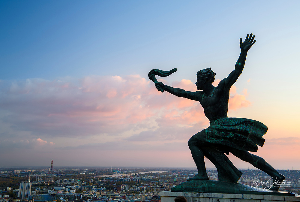 Views from the Citadella- Progress Statue, Budapest, Central Hungary, Hungary