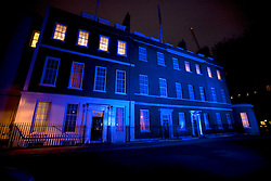 © Licensed to London News Pictures. 14/11/2012. London, U.K..Downing street this morning (14/11/2012), lit up in blue, for the world diabetes day..Photo credit : Rich Bowen/LNP