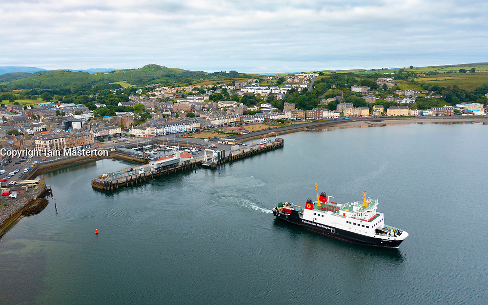 Aerial view from drone of Rothesay with Caledonian Macbrayne ferry Argyle on Isle of Bute, Argyll and Bute, Scotland, UK