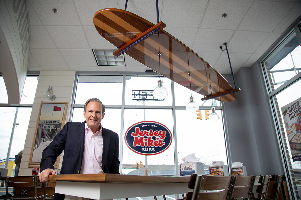 Peter Cancro, the founder of Jersey Mike's, inside the Belmar, NJ restaurant.3/10/20  Photo by John O'Boyle