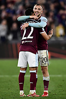 Football - 2021 / 2022 UEFA Europa League - Group H - Round Two - West Ham United vs Rapid Vienna - London Stadium - Thursday 30th September<br /> <br /> West Ham United's Jarrod Bowen with Said Benrahma at the final whistle.<br /> <br /> COLORSPORT/Ashley Western