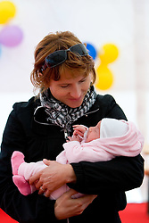 Brigita Langerholc Zager with her one month old daughter Taya the 14th Marathon of Ljubljana, on October 25, 2009, in Ljubljana, Slovenia.  (Photo by Vid Ponikvar / Sportida)