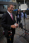 UKIP (UK Independence Party) leader Nigel Farage before TV interviews during his difficult and controversial first day of his party's conference in Westminster, central LOndon.