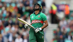Bangladesh's Shakib Al Hasan walks off after being dismissed during the ICC Cricket World Cup group stage match at The Oval, London.