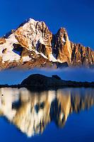 Mountain impression Lac Blanc with Aiguille Vert, Les Drus - Europe, France, Haute Savoie, Aiguilles Rouges, Chamonix, Lac Blanc - Sunset - September 2008