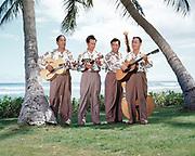 CS00917-02. George Kainapau (1905-1992) and the Royal Hawaiians at Royal Hawaiian Hotel for motion picture filming. Waikiki, Hawaii. Photo about 1947.