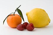 Clementine, lemon and raspberries, London, England, United Kingdom