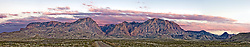 Panorama of Sunset on Chisos Mountains, Big Bend National Park, Texas, USA.