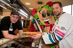 "Staff at the Centertainment branch of Subway  serve Sheffield Steelers Ben Simon with Subman with one of the ""Healthier Way"" range of Subs.26  October 2010 .Images © Paul David Drabble"