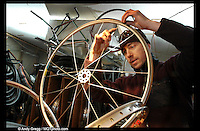 Andy Gregg working on a chair in the Bike Furniture Design studios in Marquette.
