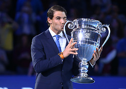 November 12, 2017 - London, United Kingdom - Rafael Nadal of Spain worlds number one with Trophy.during Day One of the Nitto ATP World Tour  Finals World Tour Finals 2017 played at The O2 Arena, London on November 12 2017  (Credit Image: © Kieran Galvin/NurPhoto via ZUMA Press)