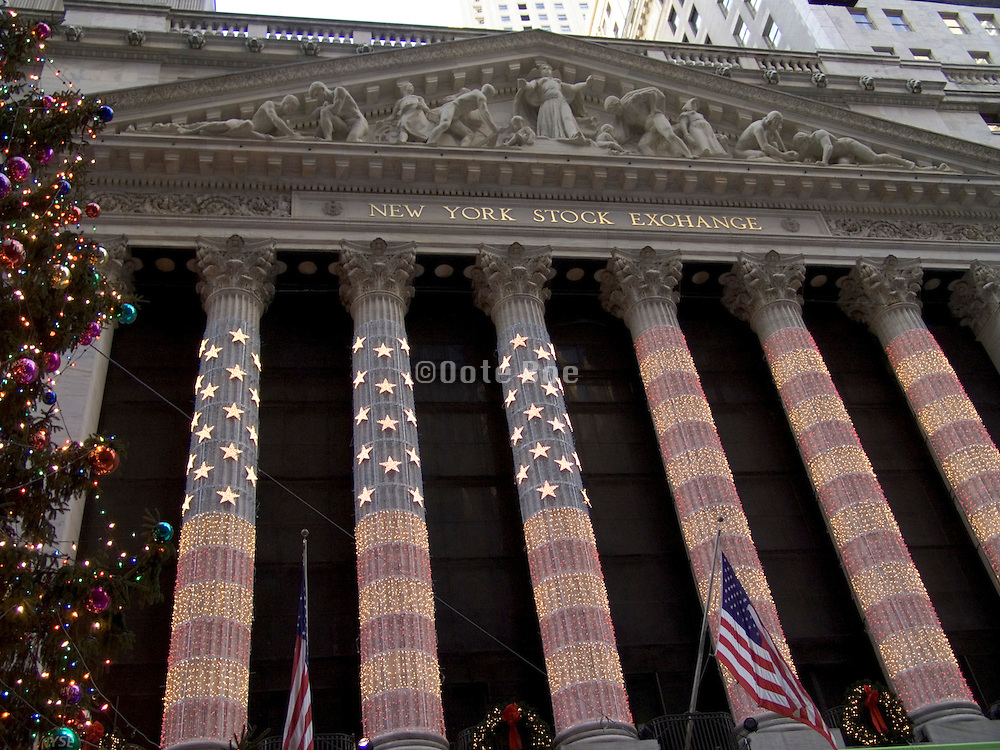 New York Stock Exchange decorated for Christmas