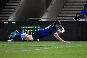Sale Sharks second-row Bryn Evans dives over to score after charging down a clearance kick during a Gallagher Premiership Rugby Union match Sale Sharks -V- Leicester Tigers, Sale won the match 36-3 on Friday, Feb. 21, 2020, in Eccles, United Kingdom. (Steve Flynn/Image of Sport via AP)