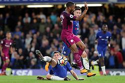 30 September 2017 - Premier League Football - Chelsea v Manchester City - Andreas Christensen of Chelsea intercepts Raheem Sterling of Man City - Photo: Charlotte Wilson / Offside