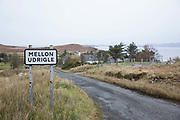 Mellon Udrigle sign post on the 5th November 2018 in Mellon Udrigle, Scotland in the United Kingdom. Mellon Udrigle is a small remote coastal tourist, fishing and crofting hamlet on the north west coast of Ross-shire, Scottish Highlands.