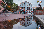 Brick roads along Water Street makes for a nice evening stroll or ride through downtown Wilmington. Riverboat Landing restaurant, 2 Market Street, Wilmington, NC.