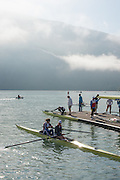 Aiguebelette, FRANCE. GBR W2-,  left. Helen GLOVER and Heather STANNING, Boating for an early morning training session, at the 2014 FISA World Cup II, 09:13:11  Thursday  19/06/2014. [Mandatory Credit; Peter Spurrier/Intersport-images] © Peter SPURRIER, Atmospheric, Rowing