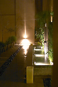 The court yard graphically decorated with plants and water fountains and spot lights on the wall. The Dolly Irigoyen - famous chef and TV presenter - private restaurant, Buenos Aires Argentina, South America Espacio Dolli