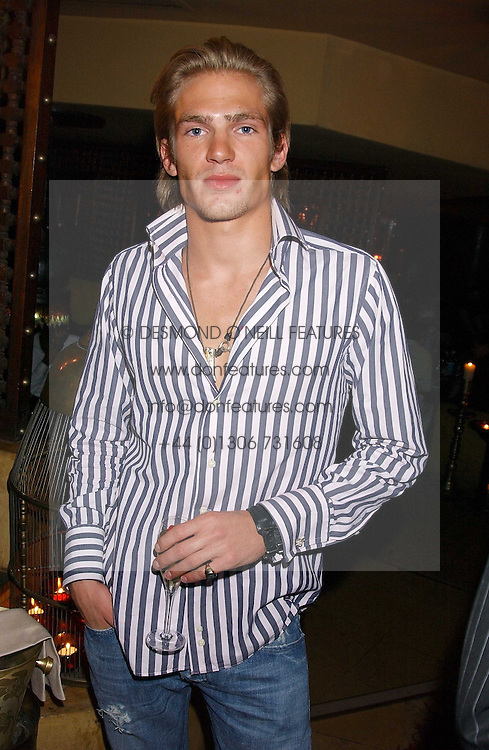 JACOBI ANSTRUTHER-GOUGH-CALTHORPE at a dinner hosted by Ayesha Makim and leading stylist Mohieb Dahabieh to celebrate the forthcoming London Fashion Week held at the exotic restaurant Levant, 76 Wigmore Street, London W1 on 8th September 2005.<br /><br />NON EXCLUSIVE - WORLD RIGHTS