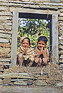 """""""Namaste"""" from two young boys greets hikers along the trail in Nepal, November, 1970.  � Jay Mather"""