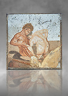 Roman Mosaic of Satyr and Ninfa from the Casa del Fauno (House of the Faun) Pompeii, inv 27707 , Naples National Archaeological Museum , grey art background.<br /> <br /> If you prefer to buy from our ALAMY PHOTO LIBRARY  Collection visit : https://www.alamy.com/portfolio/paul-williams-funkystock/roman-mosaic.html - Type -   Naples    - into the LOWER SEARCH WITHIN GALLERY box. Refine search by adding background colour, place, museum etc<br /> <br /> Visit our ROMAN MOSAIC PHOTO COLLECTIONS for more photos to download  as wall art prints https://funkystock.photoshelter.com/gallery-collection/Roman-Mosaics-Art-Pictures-Images/C0000LcfNel7FpLI