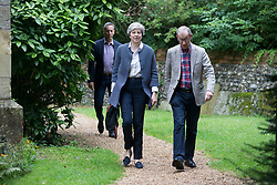 July 23, 2017 - Maidenhead, Berkshire, United Kingdom - Image ©Licensed to i-Images Picture Agency. 23/07/2017. Maidenhead, United Kingdom. Prime Minister Theresa May attends church with her husband Phillip the day before their walking holiday in Italy and Switzerland. attends Church. Picture by i-Images (Credit Image: © i-Images via ZUMA Press)