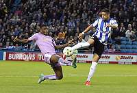 Sheffield Wednesday's Marco Matias shoots under pressure from Reading's Oliver Norwood<br /> <br /> Photographer Rich Linley/CameraSport<br /> <br /> Football - The Football League Sky Bet Championship - Sheffield Wednesday v Reading - Wednesday 19th August 2015 - Hillsborough - Sheffield<br /> <br /> © CameraSport - 43 Linden Ave. Countesthorpe. Leicester. England. LE8 5PG - Tel: +44 (0) 116 277 4147 - admin@camerasport.com - www.camerasport.com
