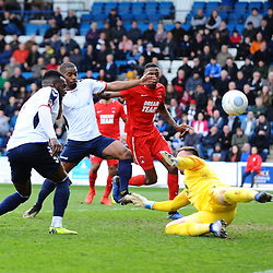 TELFORD COPYRIGHT MIKE SHERIDAN 23/3/2019 - Amari Morgan Smith and Andre Brown of AFC Telford bring a save from Dean Brill of Orient  during the FA Trophy Semi Final fixture between AFC Telford United and Leyton Orient at the New Bucks Head
