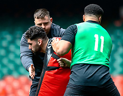Cory Hill of Wales<br /> <br /> Photographer Simon King/Replay Images<br /> <br /> Six Nations Round 3 - Captains Run - Wales v England - Saturday 22nd February 2019 - Principality Stadium - Cardiff<br /> <br /> World Copyright © Replay Images . All rights reserved. info@replayimages.co.uk - http://replayimages.co.uk