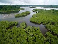 Boca Grande river mouth and estuary lined with mangroves.<br />Coiba Island<br />Coiba National Park<br />Panama