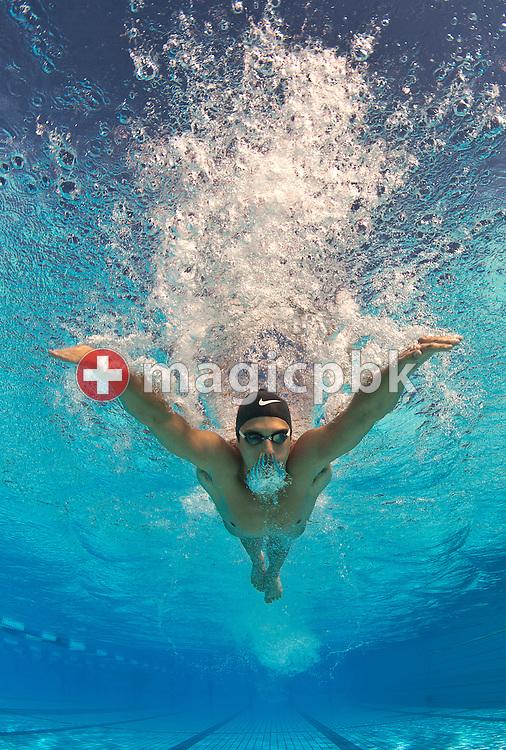 Stefan SIGRIST of Switzerland is pictured during an under water photo session in Tenero, Switzerland, Saturday, July 31, 2010. (Photo by Patrick B. Kraemer / MAGICPBK)
