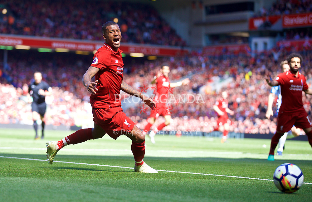 LIVERPOOL, ENGLAND - Sunday, May 13, 2018: Liverpool's Georginio Wijnaldum during the FA Premier League match between Liverpool FC and Brighton & Hove Albion FC at Anfield. (Pic by David Rawcliffe/Propaganda)