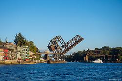 United States, Washington, Seattle, open bridge over Lake Union