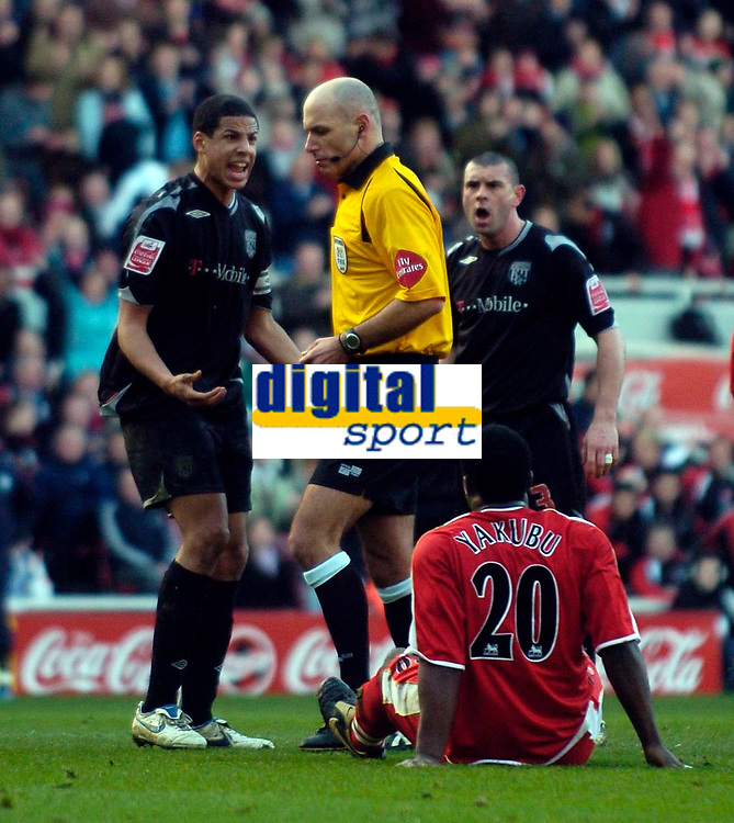 Photo: Jed Wee/Sportsbeat Images.<br /> Middlesbrough v West Bromwich Albion. The FA Cup. 17/02/2007.<br /> <br /> West Brom's Curtis Davies (L) protests to referee Howard Webb after being penalised for bringing down Middlesbrough striker Yakubu in the penalty area.