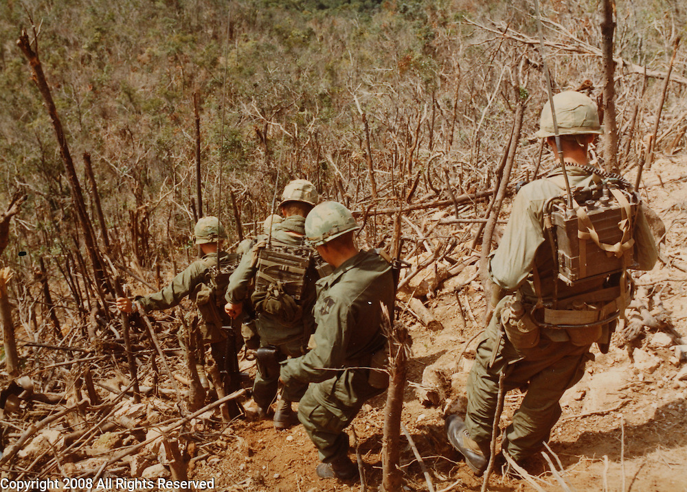 Troops of the C Co, 1st Battalion, 50th Mechanized, 1st Air Cavalry Division, move down the hillside after landing at LZ Quick, for a search and destroy mission in the Cay Giep Mountains.