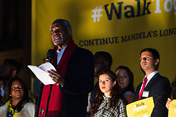 """London, October 23 2017. Nelson Mandela's group of Elders including former UN Secretary General Kofi Annan and Secretary General Ban Ki-moon accompanied by his widow Graca Machel gather at Parliament Square at the start of the Walk Together event in memory of Nelson Mandela before a candlelight vigil at his statue in Parliament Square. """"WalkTogether is a global campaign to inspire hope and compassion, celebrating communities working for the freedoms that unite us"""". PICTURED: Kofi Annan addresses the gathering in Trafalgar Square. © Paul Davey"""