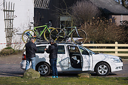 Cylance make their preparations head of the athletes' arrival - Drentse 8, a 140km road race starting and finishing in Dwingeloo, on March 13, 2016 in Drenthe, Netherlands.