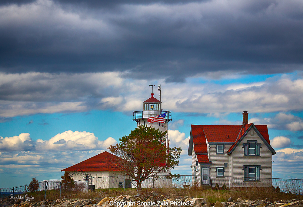 Stratford Point Light before the Storm