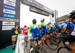 ROGLIC Primoz of Slovenia, BRAJKOVIC Janez of Slovenia and POGACAR Tadej of Slovenia during Men Elite Road Race at UCI Road World Championship 2020, on September 27, 2020 in Imola, Italy. Photo by Vid Ponikvar / Sportida