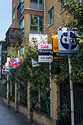 To Let and For Sale Signs outside a block of flats in Hackney, London, UK.