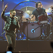 FAIRFAX, VA - December 18th, 2012 - Brandon Flowers and Ronnie Vannucci Jr. of The Killers perform at the Patriot Center in Fairfax, VA. The band is touring behind their latest album, Battle Born, which debuted at number 3 in the US on the Billboard 200.  (Photo by Kyle Gustafson/For The Washington Post)