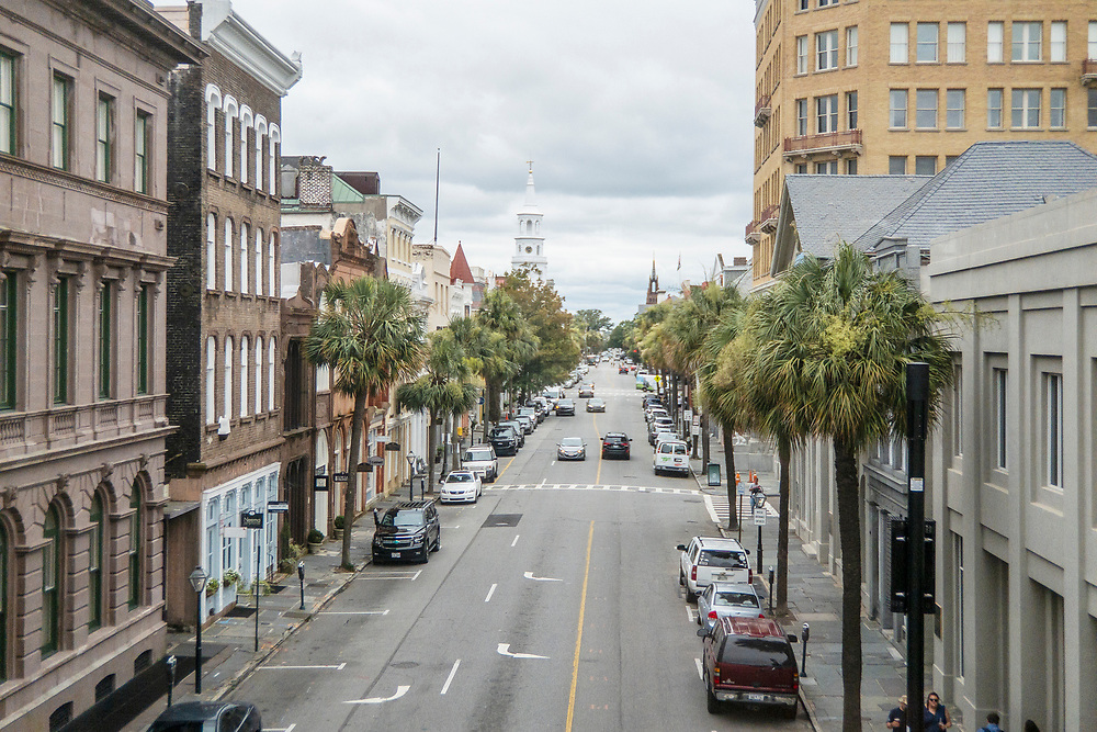 View of Broad Street from the second floor of the Old Exchange and Provost Dungeon in Charleston, South Carolina on Wednesday, June 17, 2020. Copyright 2020 Jason Barnette