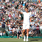 LONDON, ENGLAND - JULY 12:  Tomas Berdych of the Czech Republic after his win against Novak Djokovic of Serbia who retired injured in the Mens' Singles Quarter Final match on Court One during the Wimbledon Lawn Tennis Championships at the All England Lawn Tennis and Croquet Club at Wimbledon on July 12, 2017 in London, England. (Photo by Tim Clayton/Corbis via Getty Images)