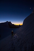 Peter McConkie, Oliviero Gobbi and Roger Steed on the Trois Monts route to Mt. Blanc, Mont Maduit, Chamonix, France