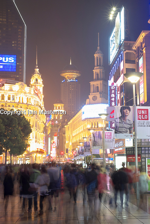 Night view of busy Nanjing East Street in Shanghai China