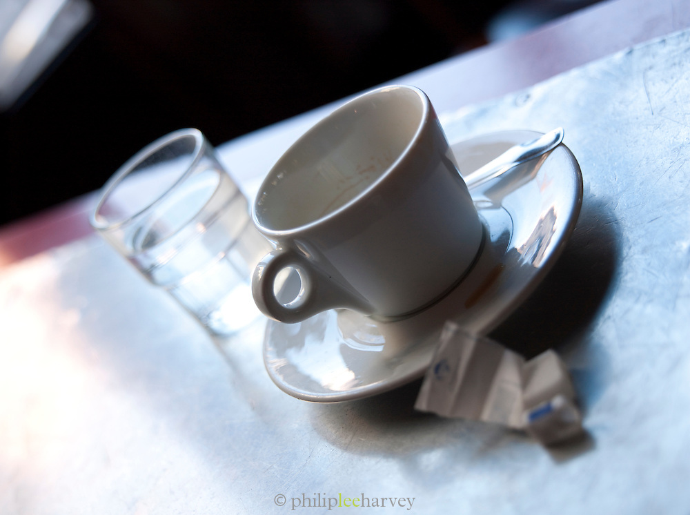 Coffe cup in a cafe in Paris, France