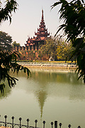A view of the moat and building at the Northeast corner of the Royal Palace, Mandalaay, Myanmar