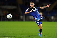 Cardiff City's Joe Ralls volleys at goal. Skybet football league championship match, Cardiff city v Hull city at the Cardiff city stadium in Cardiff, South Wales on Tuesday 15th Sept 2015.<br /> pic by Carl Robertson, Andrew Orchard sports photography.
